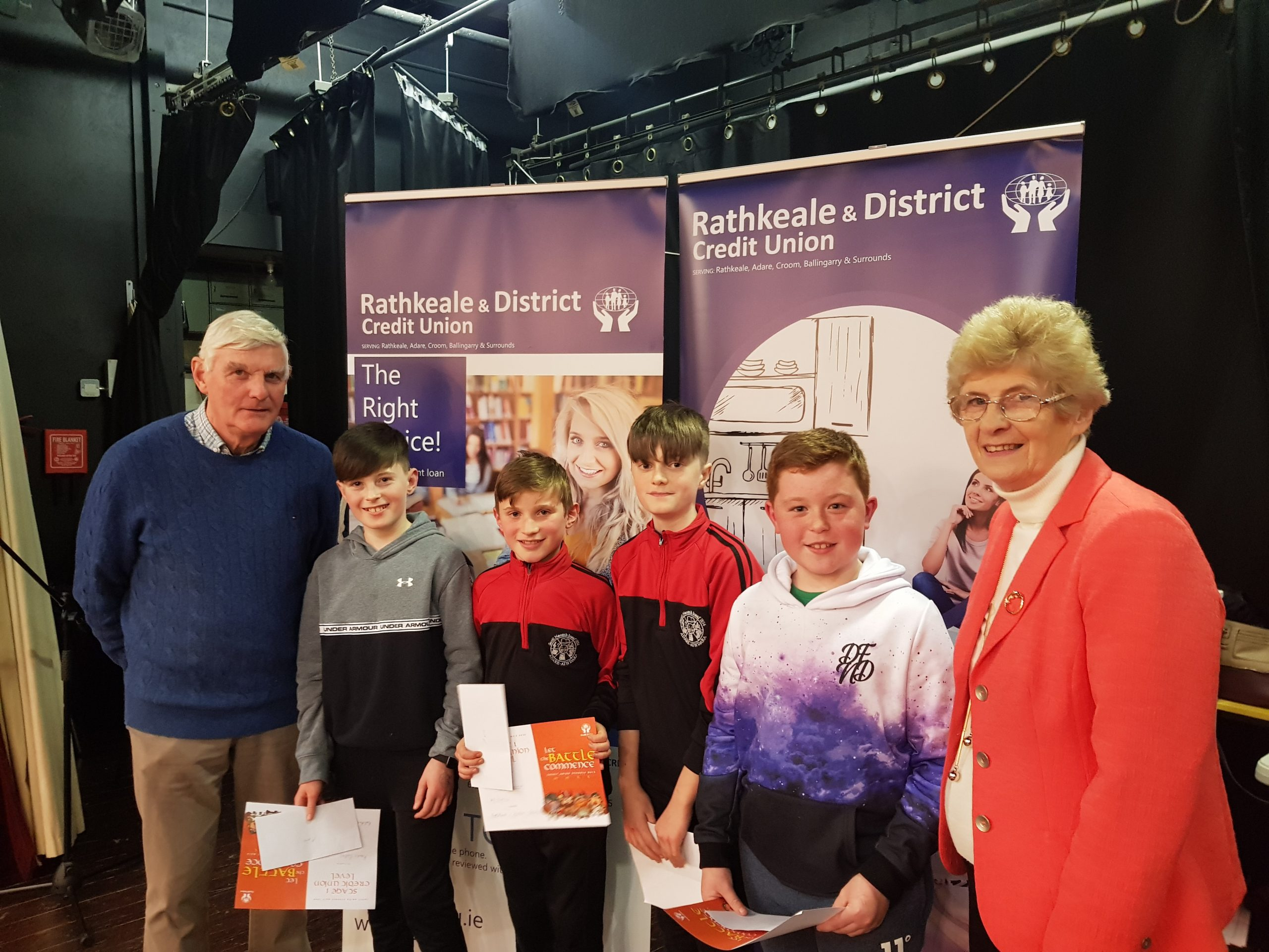 U11 Category 1st Place - Scoil Naomh Iosaf, Adare with Richard Naughton, Chairman and Kitty Guinane, Board Member